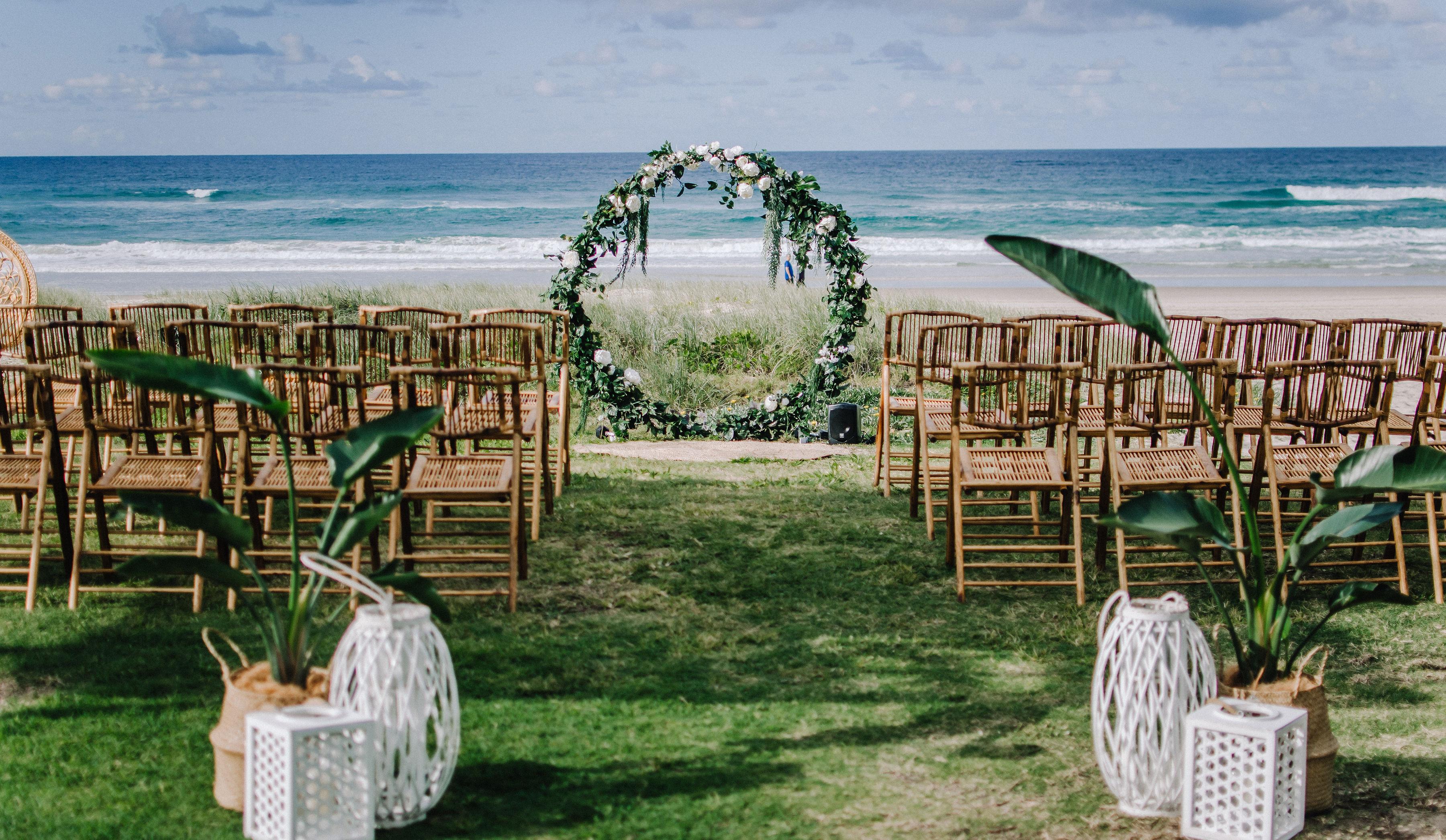 Gold Coast Beach wedding reception venue photos